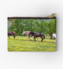 Riding Horses - Cades Cove, Smoky Mountain National Park Studio Pouch