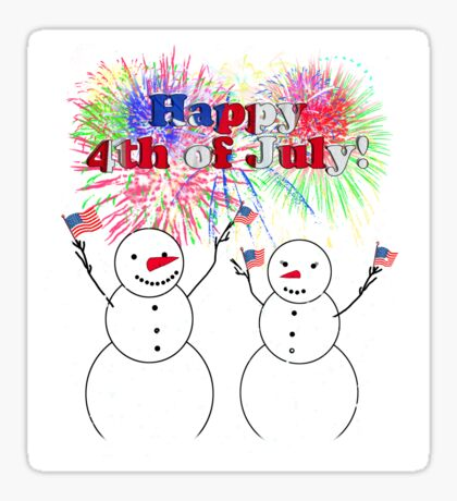 Snowmen Celebrate Independence - 4th of July Sticker