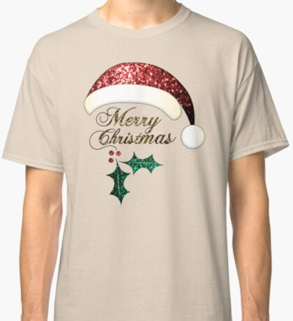 Merry Christmas Santa hat with red, gold and green sparkles Classic T-Shirt