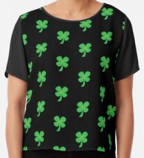 Green clover shamrock for St Patrick's day cute! Chiffon Top