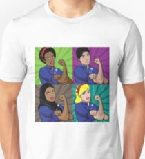 Pop art poster of multicultural Rosie the Riveters wearing a safety pin Unisex T-Shirt