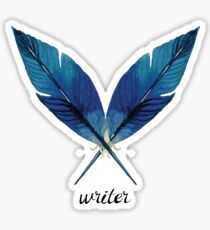 Writer! Blue Feathers Sticker