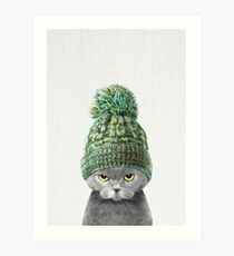 Kitten wearing a hat Art Print