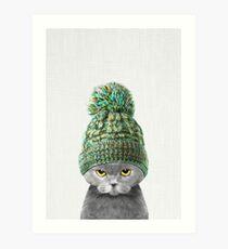 Kitten wearing a hat Art Print