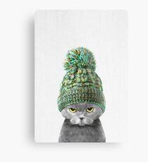 Kätzchen, das einen Hut trägt Metallbild