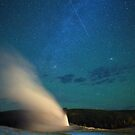 Old Faithful a Shooting Star and the Northern Lights by James Anderson