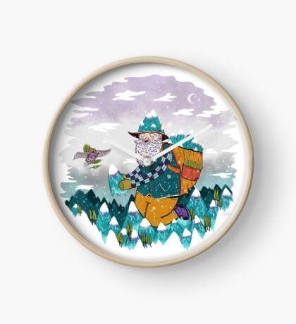 Mountain Guy and Owl Friend Clock