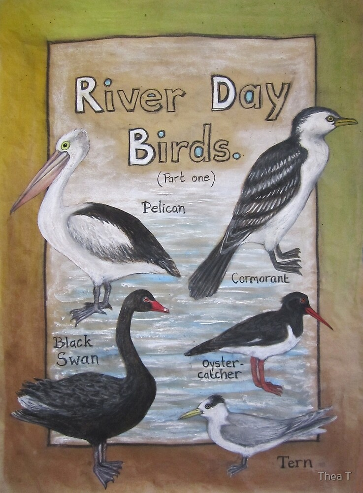 River Day Birds  by Thea T