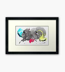 CMYK Ink Brush Fox Framed Print
