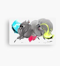 CMYK Ink Brush Fox Canvas Print