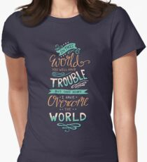 Overcome The World - Bible Verse Lettering Typography Womens Fitted T-Shirt