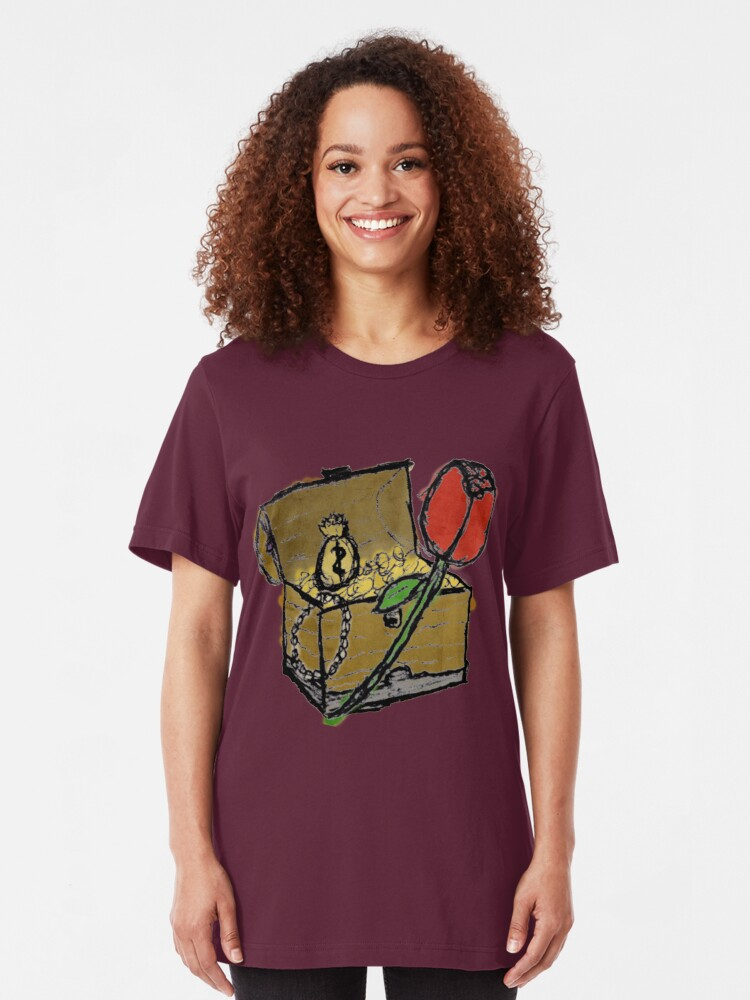 Alternate view of Treasure Chest with a Rose Slim Fit T-Shirt