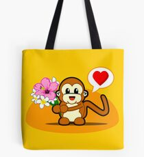 Flower Monkey Love Tote Bag