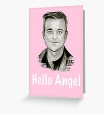 Pink Hello Angel Greeting Card