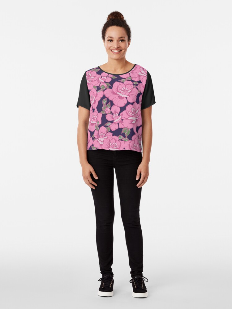 Alternate view of Pink Roses Chiffon Top