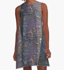 Indian Heron on Lily Pond A-Line Dress