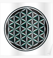 Sacred Geometry: Flower Of Life - Sacred Duality (Teal/Green) Poster