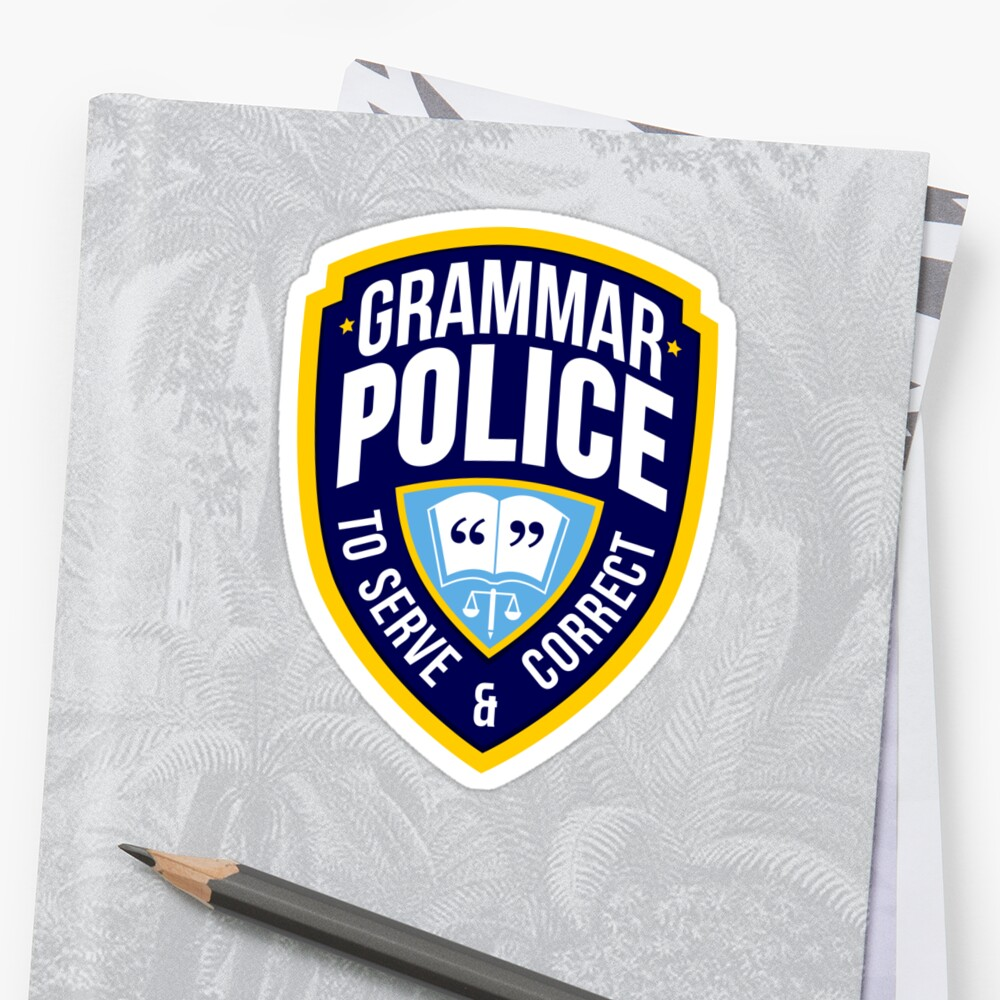 Grammar Police Badge Sticker Front
