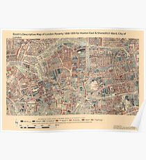 Booth's Map of London Poverty for Hoxton East & Shoreditch ward, City of London Poster