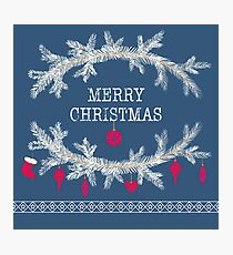 Merry christmas and happy new year greeting card wreath background Photographic Print