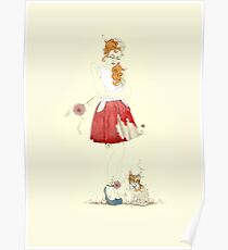 Red dress with kitty cat Poster