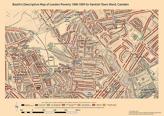 Booth S Map Of London Poverty For Kentish Town Ward Camden Posters