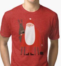 Santa and his reindeer / Weihnachtsmann mit Rentier Tri-blend T-Shirt