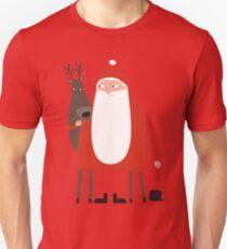 Weihnachtsmann mit Rentier Unisex T-Shirt