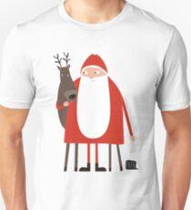 Santa and his reindeer / Weihnachtsmann mit Rentier Slim Fit T-Shirt