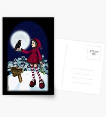 WINTER SNOW GIRL Postcards