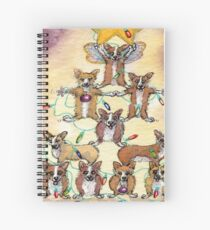 Corgi dogs make up a fur tree for Christmas Spiral Notebook