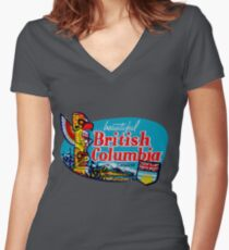 Beautiful British Columbia BC Vintage Travel Decal Women's Fitted V-Neck T-Shirt