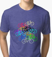 Amsterdam Bicycle Pattern. Tri-blend T-Shirt