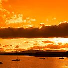 boats in a quiet bay with island close to kenmare by morrbyte