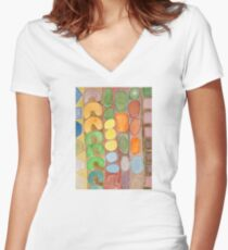 Striped Colorful Pattern with Croissants  Women's Fitted V-Neck T-Shirt