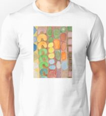Striped Colorful Pattern with Croissants  T-Shirt