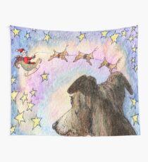 Sight-hound reindeer pulling Santa's sleigh Wall Tapestry