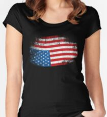 Upside Down American Flag US in Distress T-Shirt Women's Fitted Scoop T-Shirt
