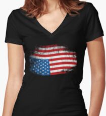 Upside Down American Flag US in Distress T-Shirt Women's Fitted V-Neck T-Shirt
