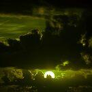 dark moody olive sunset sky by morrbyte