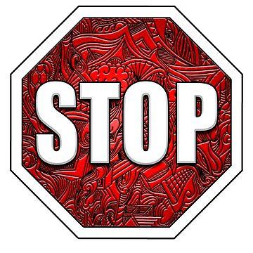 STOP Sign Octagon Bold Beveled Artistic Zen Doodle RED WHITE by DooodleGod