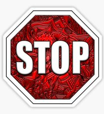 STOP Sign Octagon Bold Beveled Artistic Zen Doodle RED WHITE Sticker