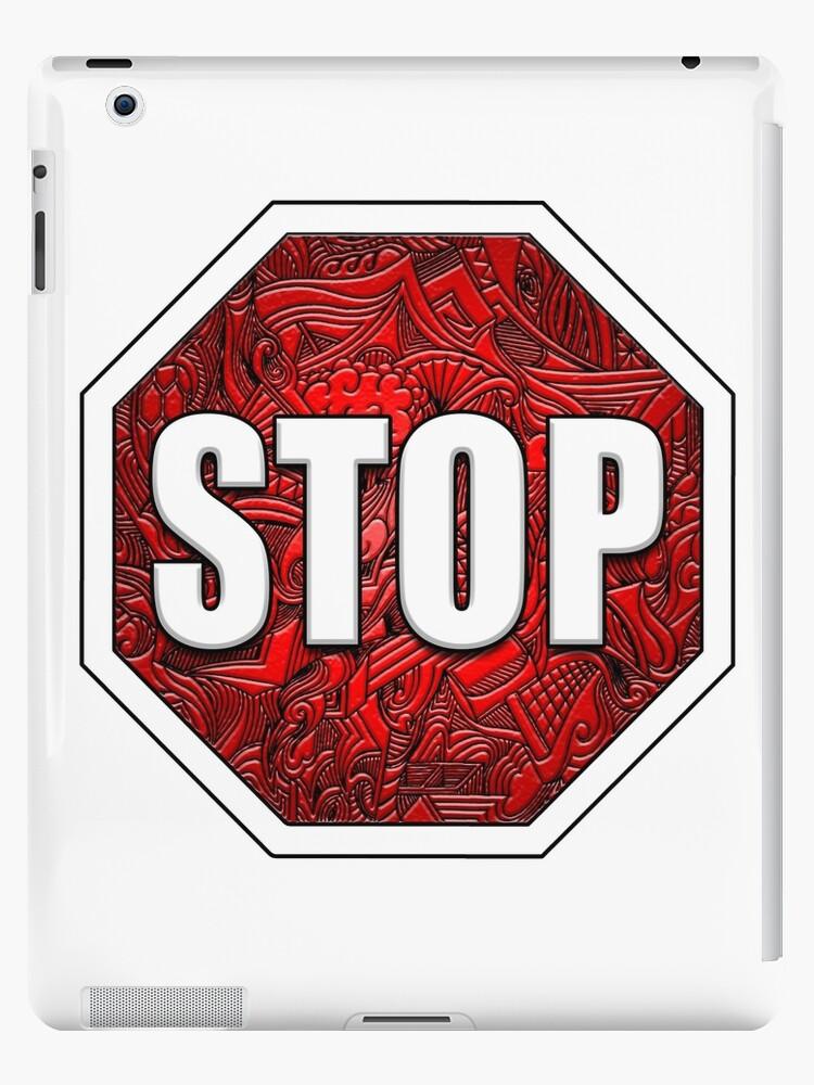 0dfa0952c18411 STOP Sign Octagon Bold Beveled Artistic Zen Doodle RED WHITE