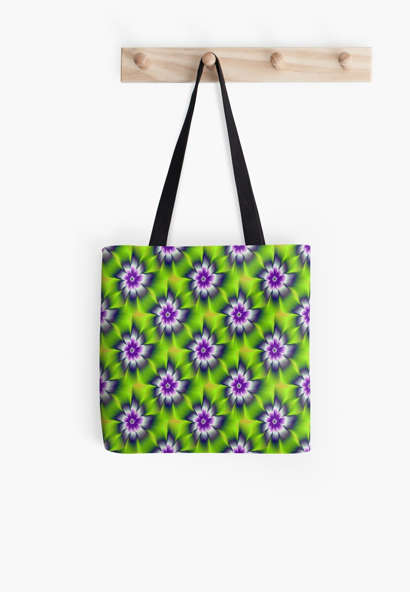 Green Blue and Violet Daisy Flower tiled by Objowl