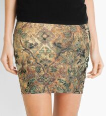 Vintage Tea Stained Floral Pattern. Mini Skirt