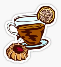 tea cup and cookies Sticker