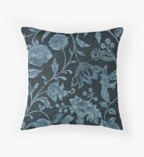 Blue Vintage Floral Throw Pillow