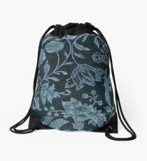 Blue Vintage Floral Drawstring Bag