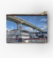 Cargo Boats docked at Potter's Cay under Paradise Island Bridge - Nassau, The Bahamas Studio Pouch