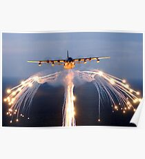 HC-130 Drops Flares Poster